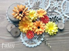 FANTASY: How I Do It: An Autumn Calendula from Anna Maslyuchenko Calendula, Paper Flowers, Autumn, Table Decorations, Blog, Scrap, Anna, Fantasy, Home Decor