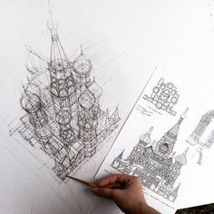 Adelina Gareeva - Croquis architecturaux Basil's Cathedral in Moscow. Architecture Student, Architecture Drawings, Architecture Panel, Architecture Portfolio, Classical Architecture, Architecture Design, Art Sketches, Art Drawings, Perspective Drawing