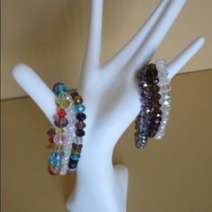 Multicolored stretch crystal bracelet. Handmade.   Fashionable colors. Jewelry Bracelets
