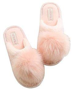 ec7efde890e Pink Plush Pom-pom Fuzzy Slippers