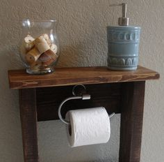 Toilet Paper Holder Stand with Top Shelf and Storage by KeoDecor