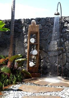 Tropical bathroom, shower outside! Hawaii.