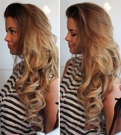 Long, dirty blonde hair with ringlet curls