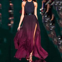 To find out about the Burgundy Ombre Halter Split Maxi Dress at SHEIN, part of our latest Dresses ready to shop online today! Ombre Maxi Dress, Halter Neck Maxi Dress, Chiffon Maxi Dress, Maxi Dress With Sleeves, The Dress, Strapless Dress Formal, Purple Maxi, Purple Ombre, Slit Dress