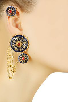 Gold finish turmoline blue enamel round earrings available only at Pernia's Pop Up Shop.