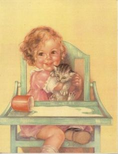 girl and hungry kitten