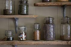 salvaged wood shelves via remodelista