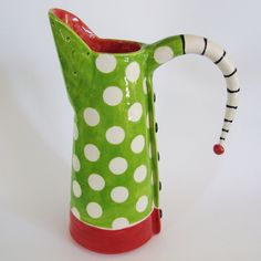 Colorful pitcher or vase with red & green polka dots by maryjudy