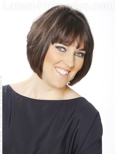 Angled Brunette Bob with Bangs