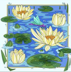 Pond Drawing, Pebeo Porcelaine 150, Simple Canvas Paintings, Colouring Pics, Lily Pond, Art Nouveau Design, Happy Colors, Water Lilies, Graphic Design