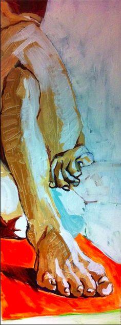 Ardha Matsyendrasana, acrylic on canvas 2013 by Penny Tristram