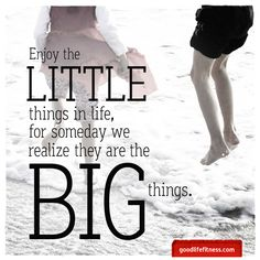 Enjoy the little things in life, for someday we realize they are the big things.
