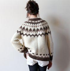 70s Neutral Icelandic Sweater, traditional wool cardigan Lopapeysa pattern in natural off-white cream, tan & brown, boho hippie 70s handknit...