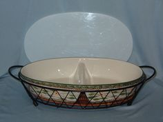 Temp-Tations Ovenware By Tara Large Oval Divided Dish Wire Rack Cover CSA #DH20 #Temptations