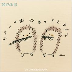 Hedgies on a flute and a piccolo 170920