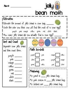Provide your students with a plastic egg filled with jelly beans (Brach Brand) and invite them to review their math skills and enjoy a treat....