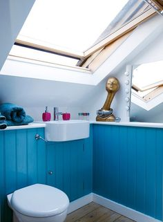 blue tongue & groove panelling in loft bathroom