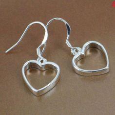 Silver Dangling Heart Earrings