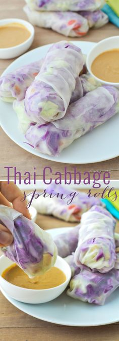 Spring Rolls stuffed with Vermicelli Slaw, Baked Tofu, and Shredded Napa and Red Cabbage. Served with Ginger-Peanut Sauce. Cabbage Wraps, Cabbage Rolls, Onigirazu, Whole Food Recipes, Cooking Recipes, Get Thin, Baked Tofu, Spring Rolls, Peanut Sauce