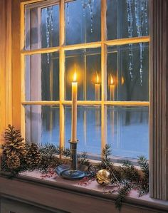 Candle in the window.  Simple decor for holidays.