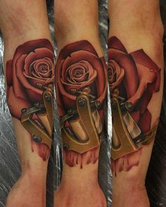 Rose & tattoo gun - tattoo design