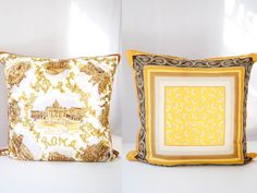 Vintage Scarf Pillow Cover Silk Square Rome by VintageCommon