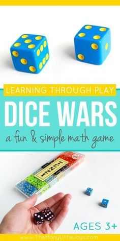 """This simple and fun math game is a great way to help preschoolers (and older kids, too!) practice counting, addition, and other basic math skills while competing to win the """"dice wars"""". game, Dice Wars: A simple & fun math game for kids Simple Math, Basic Math, Math Skills, Math Lessons, Math Games For Kids, Dice Games, Math Games For Preschoolers, Fun Games, Math Card Games"""