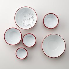 Enamelware Prep Set. Six-piece bowl and colander set by Falcon Enamelware.