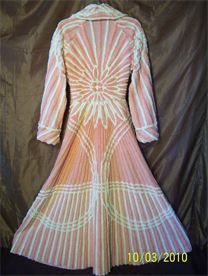 VINTAGE CHENILLE: Pink-White-Sunburst-PLUSH-fittedBodice2 - Beyond Vintage in its appeal