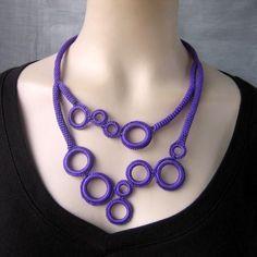 Purple ring-freeform crochet circle necklace by NingNingGong