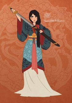 Mulan by fdevita on DeviantArt Arte Disney, Disney Fan Art, Disney Love, Disney Magic, Disney And Dreamworks, Disney Pixar, Punk Disney Princesses, Disney Characters, Princesa Disney