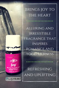 Young Living's Joy brings joy to the heart, is alluring and has an irresistible fragrance that inspires romance and togetherness, it is also refreshing and uplifting Joy Essential Oil, Therapeutic Essential Oils, Young Living Essential Oils, Essential Oil Blends, Young Living Joy, Schedule, Remedies, Fragrance, Essentials