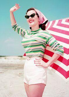 beach fashion, 1956