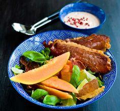 Papaya and Bacon Salad with Ranch Sauce, Papaija-pekonisalaatti ja ranch-kastike, resepti – Ruoka.fi