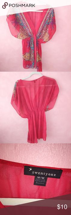 Sheer Blouse - Twenty One - Size M - Cute! This cute sheer top would be perfect to slip on over something more comfortable... Sheer, red and sexy. Cinched waist. Size M, made in the USA Twenty One Tops Blouses