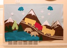 Trains in the Swiss Alp Mountains  Felt Wall by EmIsCrafty on Etsy