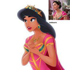 Princess Jasmine in her new princess clothing from Disney's live action movie, Aladdin Disney And Dreamworks, Disney Pixar, Punk Disney, Anna E Elsa, Aladdin Movie, Disney Princess Jasmine, Disney Movies, Disney Characters, Disney Fan Art
