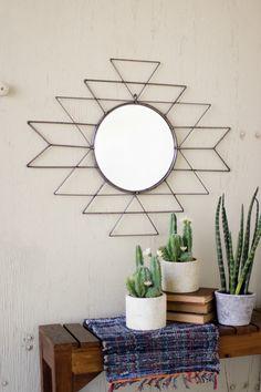 Kalalou Raw Metal Aztec Pattern Mirror