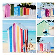 Set van 5 doeken gekleurde strandcabines