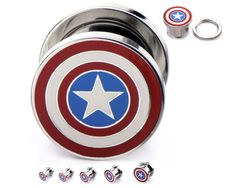 "Marvel Captain America Logo Screw Fit Steel Plugs 4G-1"""