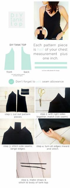 ideas diy clothes hacks tank tops for 2019 Diy Clothes Hacks, Clothing Hacks, Clothes Refashion, Clothing Ideas, Diy Tank, Diy Shirt, Tank Top Tutorial, Clothing Patterns, Sewing Patterns