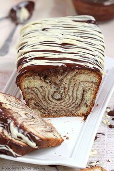Chocolate and vanilla marble loaf cake from Roxanashomebaking.com
