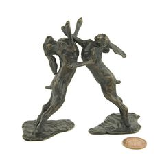 New! Small sculpture: Solid Bronze 'Boxing Hares Maquette' by Sue Maclaurin. Ltd. Edition of 500 castings, 10cm high. Handmade in Britain by Nelson & Forbes.