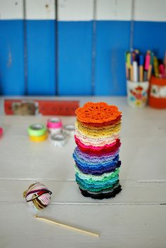 Color crochet...also fascinated by the colors in that ball of yarn.