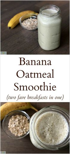Smoothie Recipes Banana Oatmeal Smoothie (breakfast, healthy recipes) - If you enjoy smoothies and oatmeal for breakfast, what if you could put both together? Well, you can in this delicious Banana Oatmeal Smoothie recipe. Protein Smoothies, Banana Oatmeal Smoothie, Yummy Smoothies, Banana Smoothie Recipes, Smoothies Healthy Weightloss, Healthy Oatmeal Smoothies, Smoothies With Oats, Spinach Banana Smoothie, Delicious Smoothie Recipes
