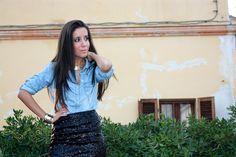 sequined denim shirt | Camicia di jeans e gonna di paillettes- Denim shirt and sequined skirt