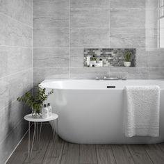 Light grey gloss marble effect ceramic wall tiles in a format Grey Bathroom Wall Tiles, Ceramic Tile Bathrooms, Stone Bathroom, Ceramic Wall Tiles, Modern Marble Bathroom, Bathroom Box, Grey Tiles, Bathroom Inspo, White Tiles