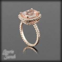 Morganite Engagement Ring in Rose Gold - Cushion Cut Peachy Pink