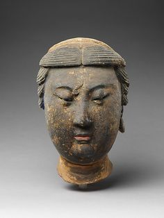 Head of Attendant Liao or Jin dynasty century China Unfired clay with traces of pigment and gilding H. Art Sculpture, Sculptures, Statues, Jin, Chinese Buddha, Face Images, Art Premier, China Art, Buddhist Art