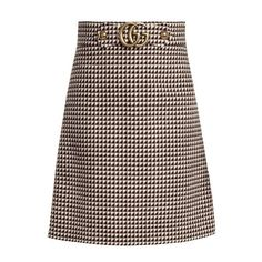 Gucci GG wool-blend skirt (£755) ❤ liked on Polyvore featuring skirts, black cream, floral print a-line skirt, print skirt, high-waist skirt, patterned skirts and high waisted knee length skirt